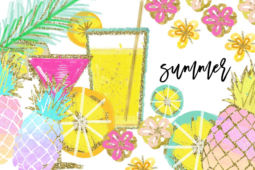 Tropical Clip Art, Watercolor Summer Clipart, Pineapple Summer Clipart, Beach Clipart, Lemon Clipart, Pineapple Clipart, signature drink example image 1