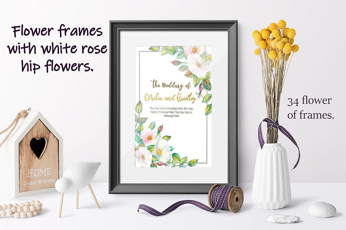 Flower frames with white rose hip flowers. Watercolor example image 1