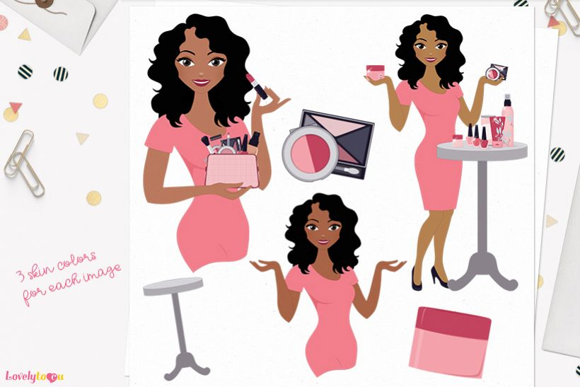 Woman makeup character clip art L100 Dezi example image 1