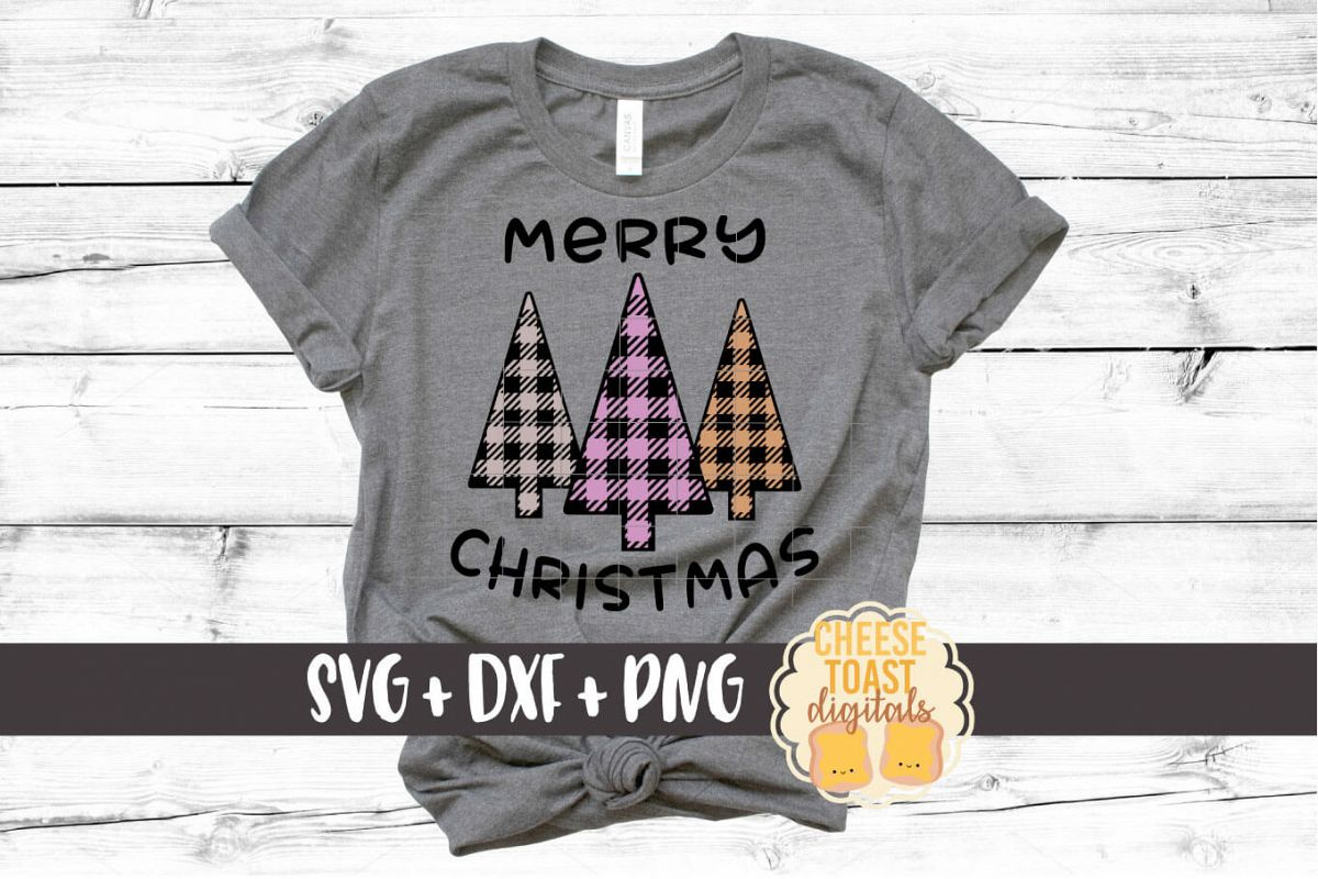 Merry Christmas Buffalo Plaid Trees - Christmas SVG Files example image 1