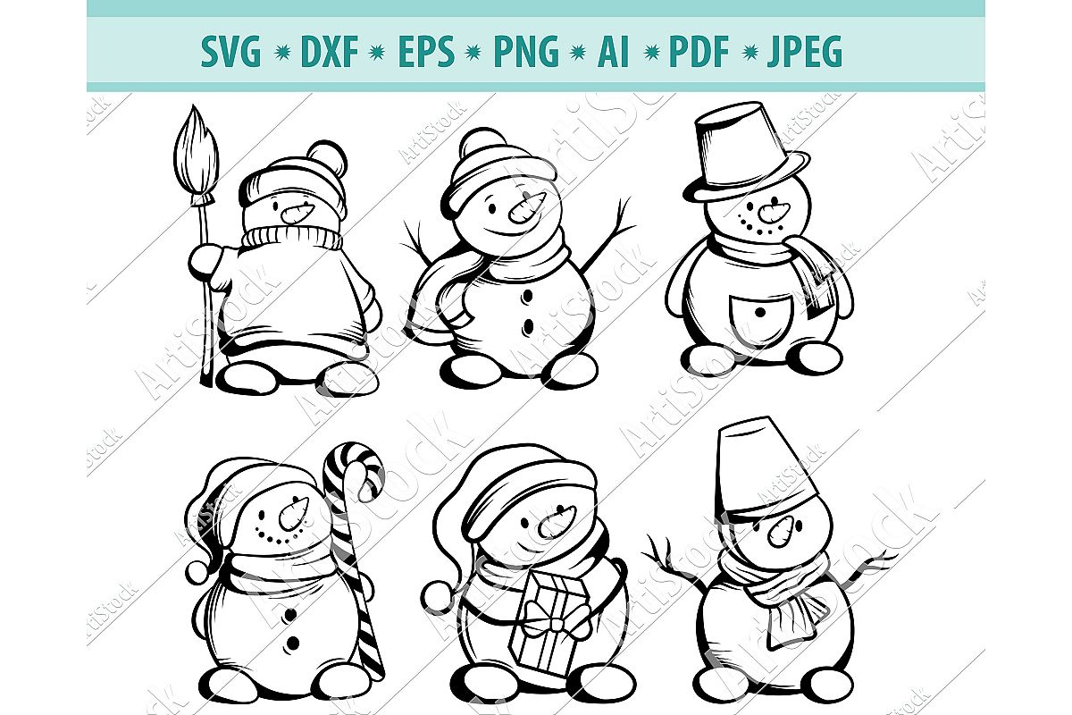 Snowman SVG, Christmas svg, Let it Snow svg, Dxf, Png, Eps example image 1