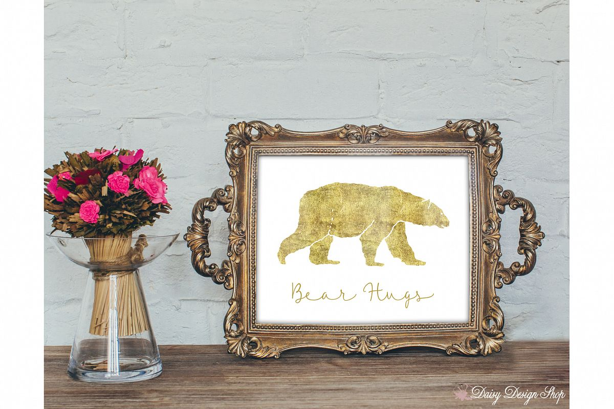 Glitter Bear Art Print - Nursery or Home 8x10 Printable example image 1