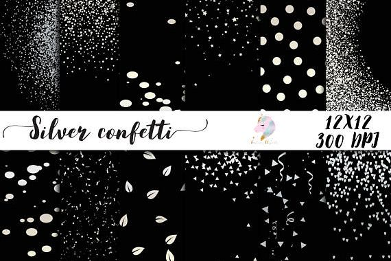 Silver Confetti Overlay Clipart example image 1