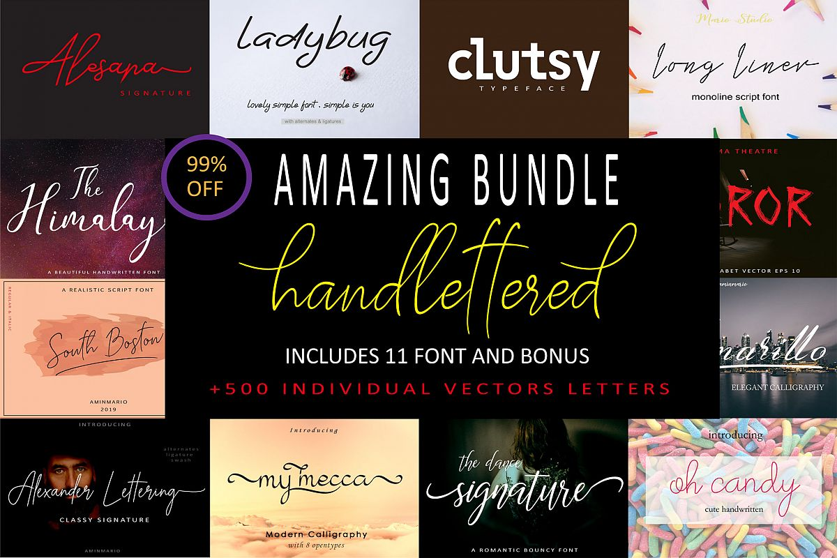 AMAZING BUNDLE 95 OFF | 200 BONUS VECTOR ALPHABET example image 1