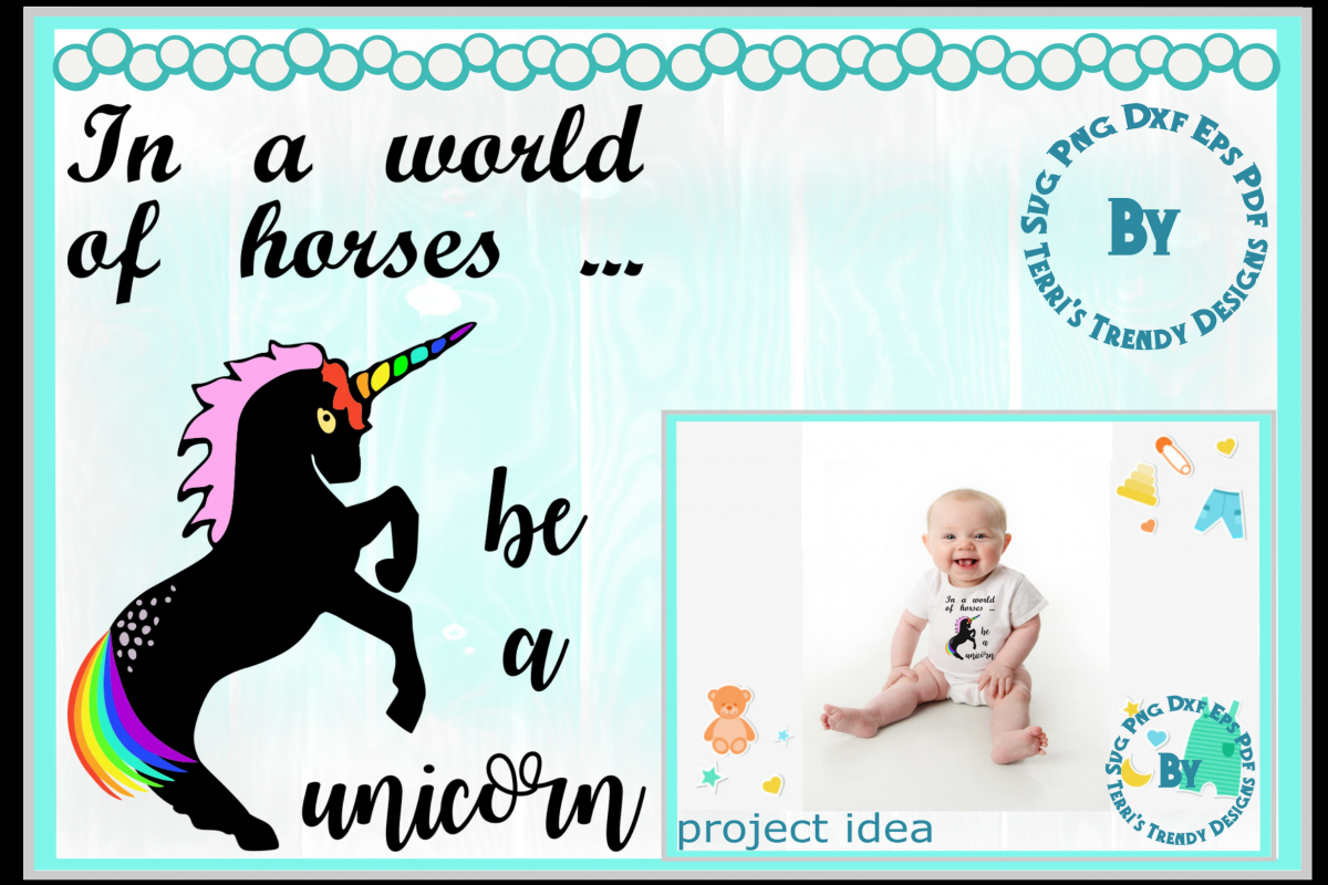 Be a unicorn world of horses craft svg png dxf eps pdf example image 1