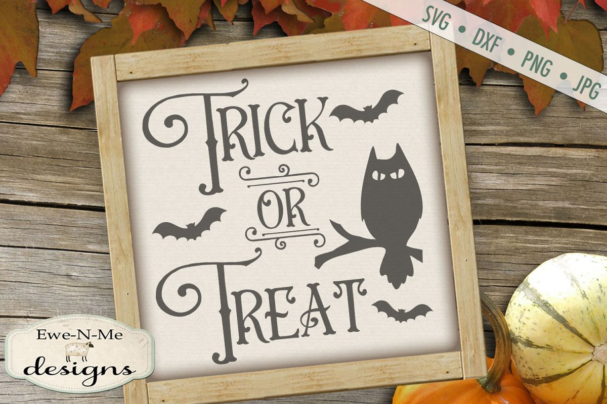 Trick or Treat - Halloween - Owl Bats - SVG DXF Files example image 1