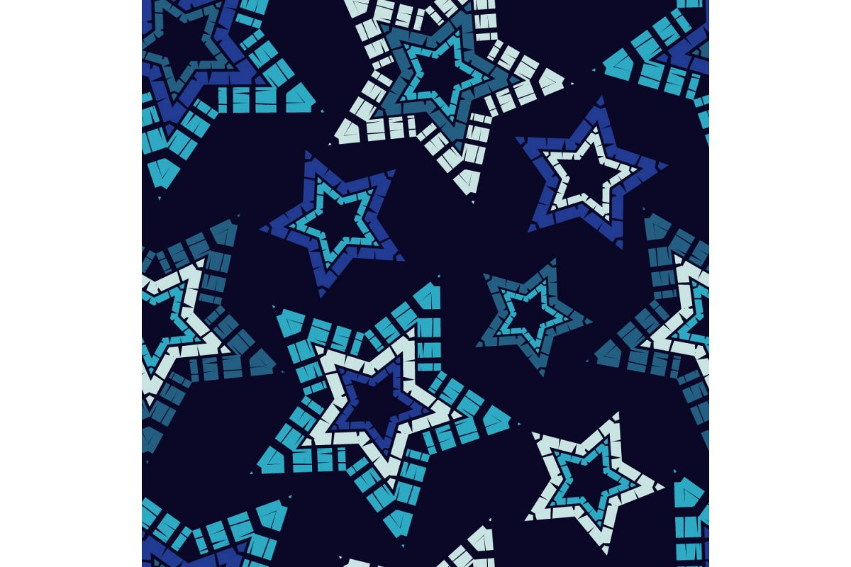 Ornament with Stars. Set of 10 seamless patterns. example image 1