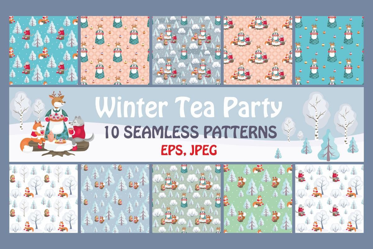 Winter Tea Party. Seamless patterns set. example image 1