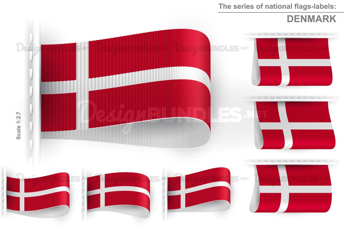 Vector Denmark Flag Tag Clothes Label Sticker Sewn Set example image 1