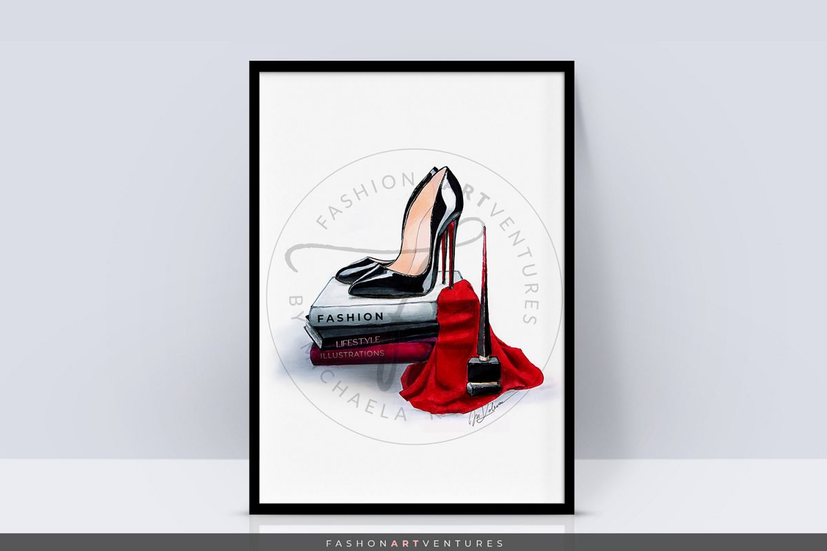 Black Heels - Shoe Illustration, Fashion print, Home decor example image 1