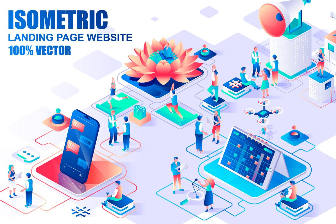 Bundle Isometric Landing Page Template Header example image 1