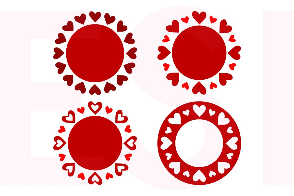 Valentines Circle Monogram Frame Designs Set example image 1