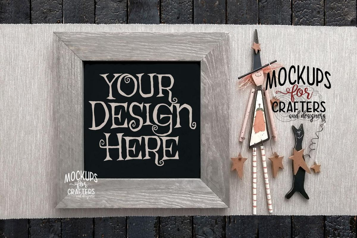 WOOD SIGN MOCK-UP Halloween theme, witch, cat example image 1