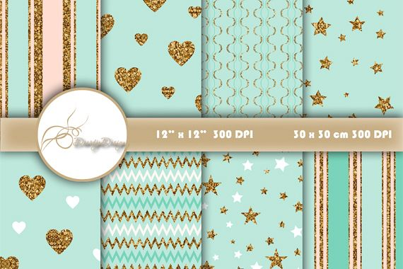 Gold Digital Paper Valentine example image 1