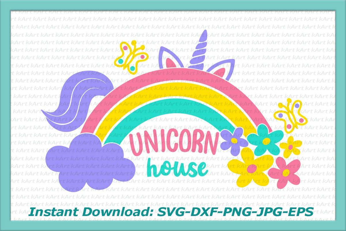 Unicorn house rainbow flowers cloud butterflies clipart svg example image
