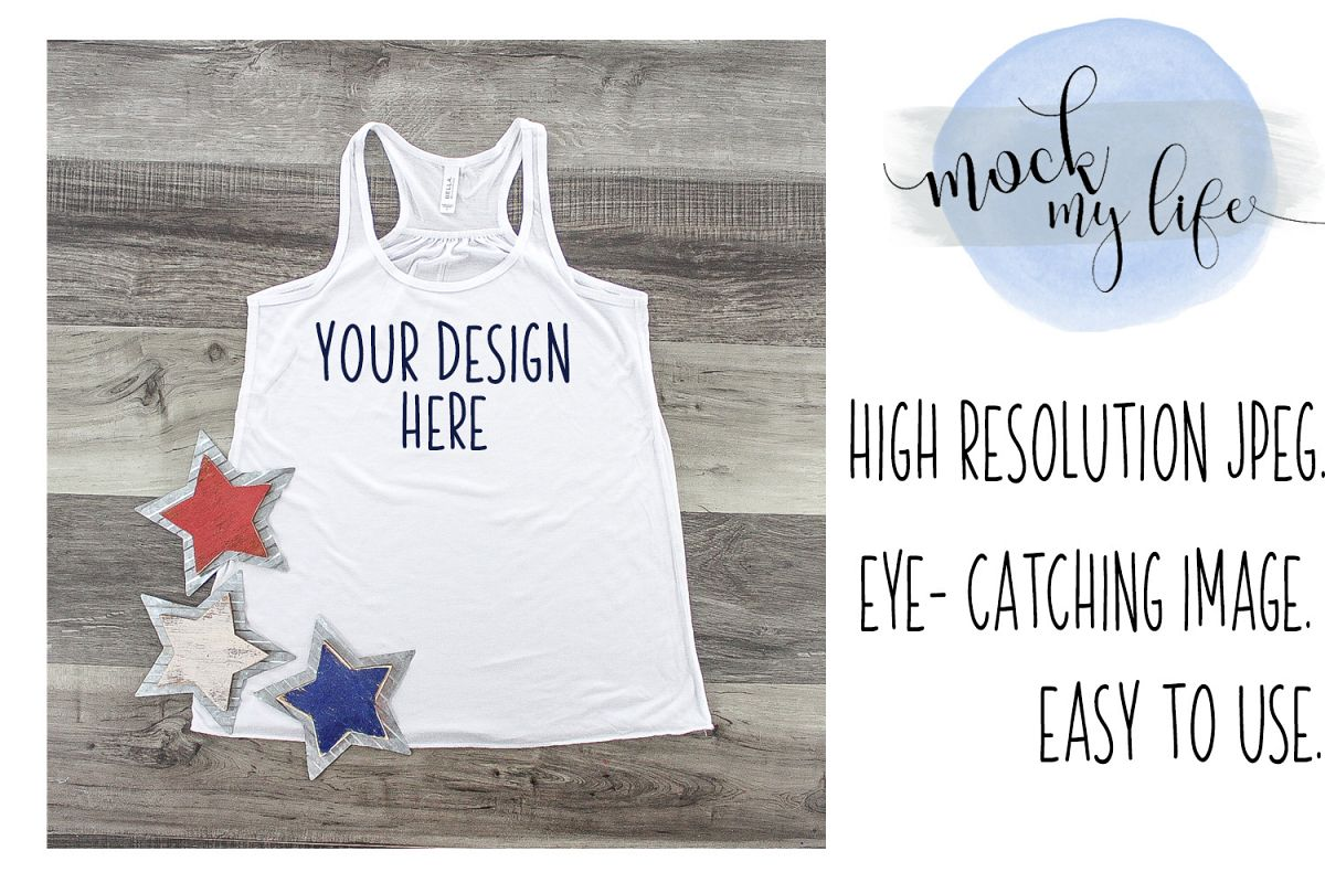 MockUp Bella Canvas Shirt / Patriotic Flat Lay / White Shirt example image 1