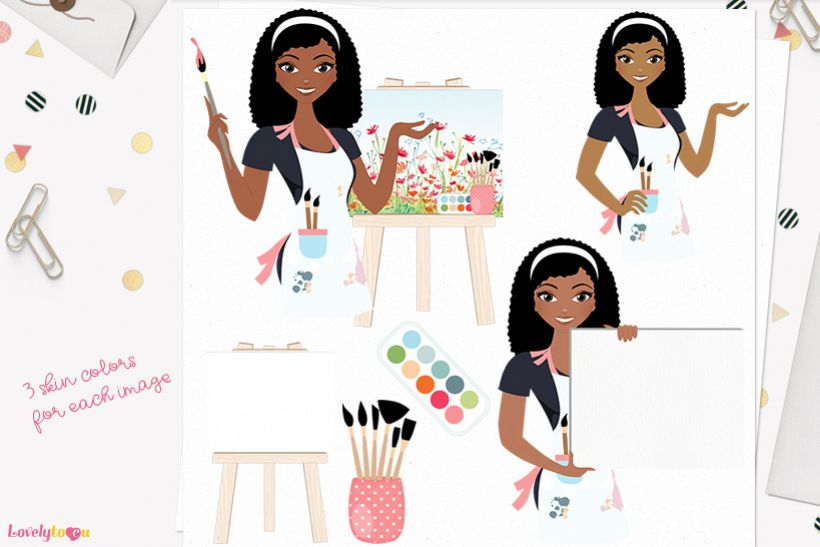 Woman artist character clip art L138 Nelly example image 1