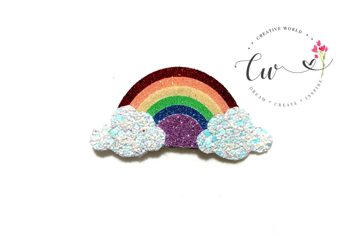 Rainbow Hair Clip Digital Template | Rainbow Clip Template example image 1