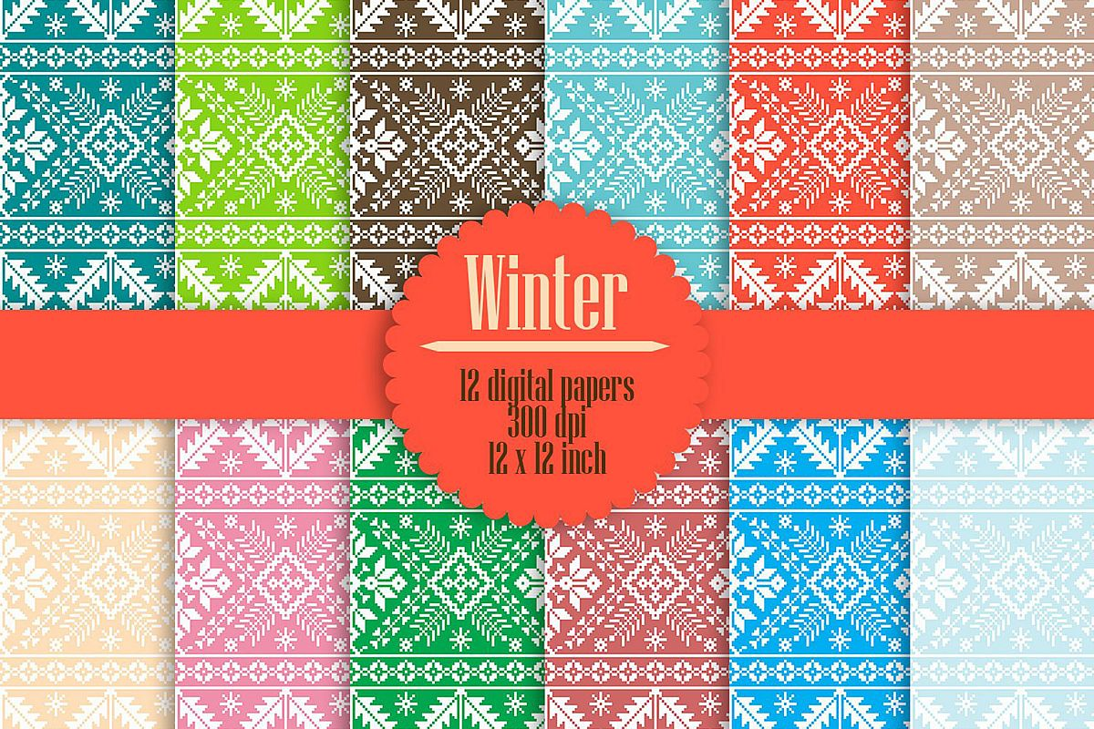 Christmas Sweater Pattern.12 Christmas Sweaters Knitting Pattern Digital Papers