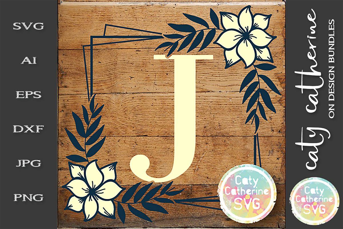 Letter J Floral Monogram Frame SVG Cut File example image 1