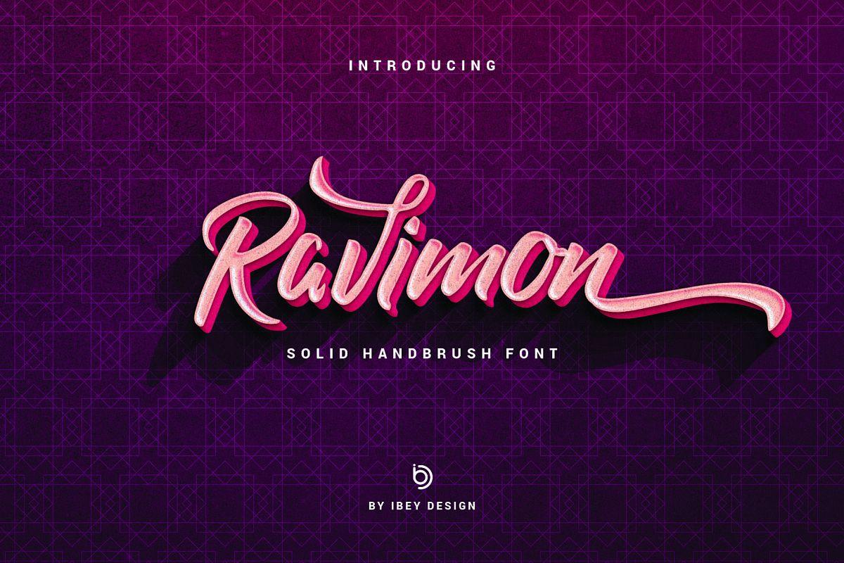 Ravimon - Solid Handbrush Font example image 1