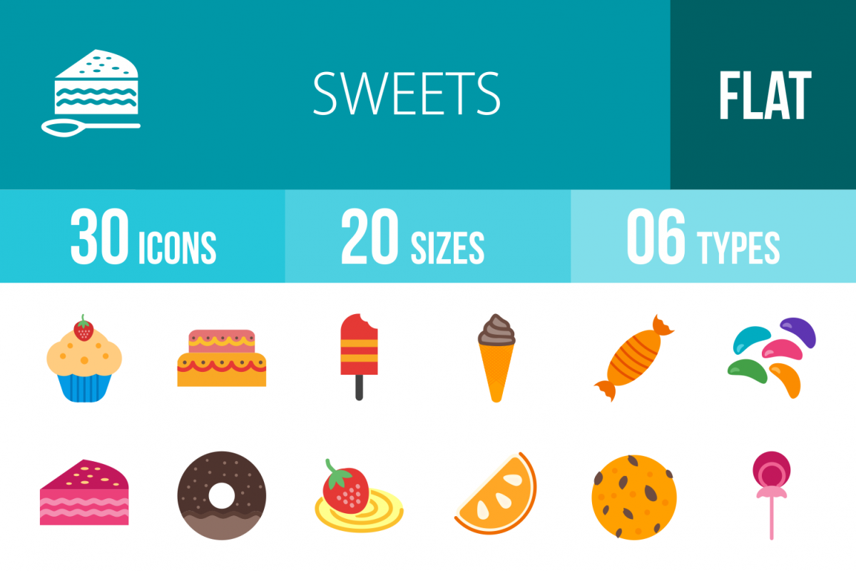 30 Sweets & Confectionery Flat Multicolor Icons example image 1