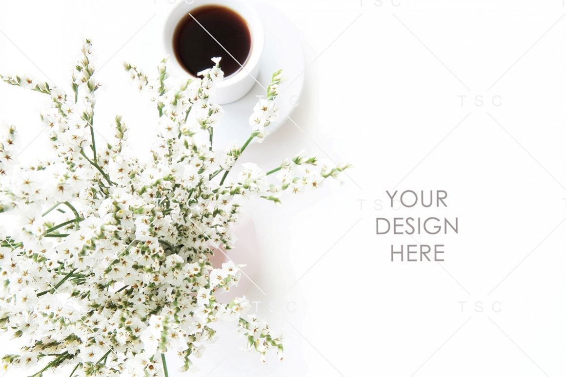 White Flowers and Coffee Stock Photo example image 1