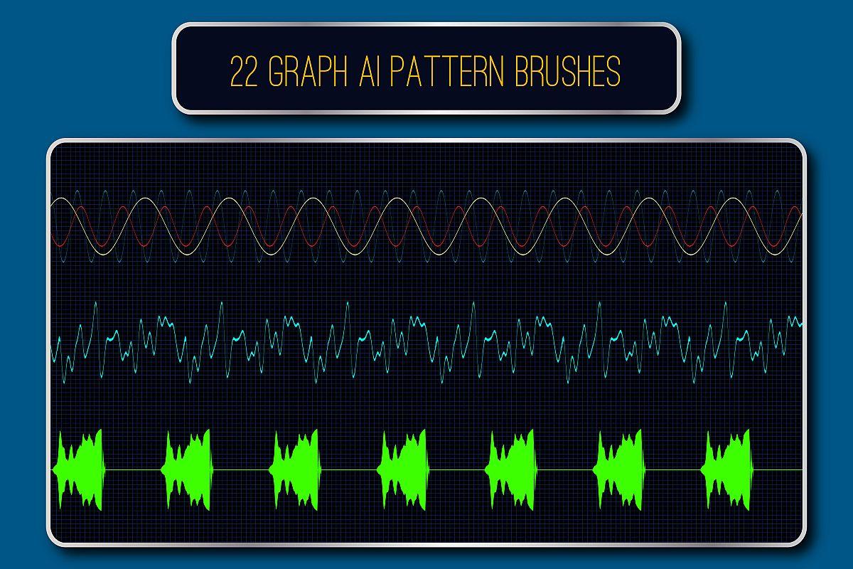 22 Impulse Graph Oscillation Illustrator Pattern Brushes example image 1