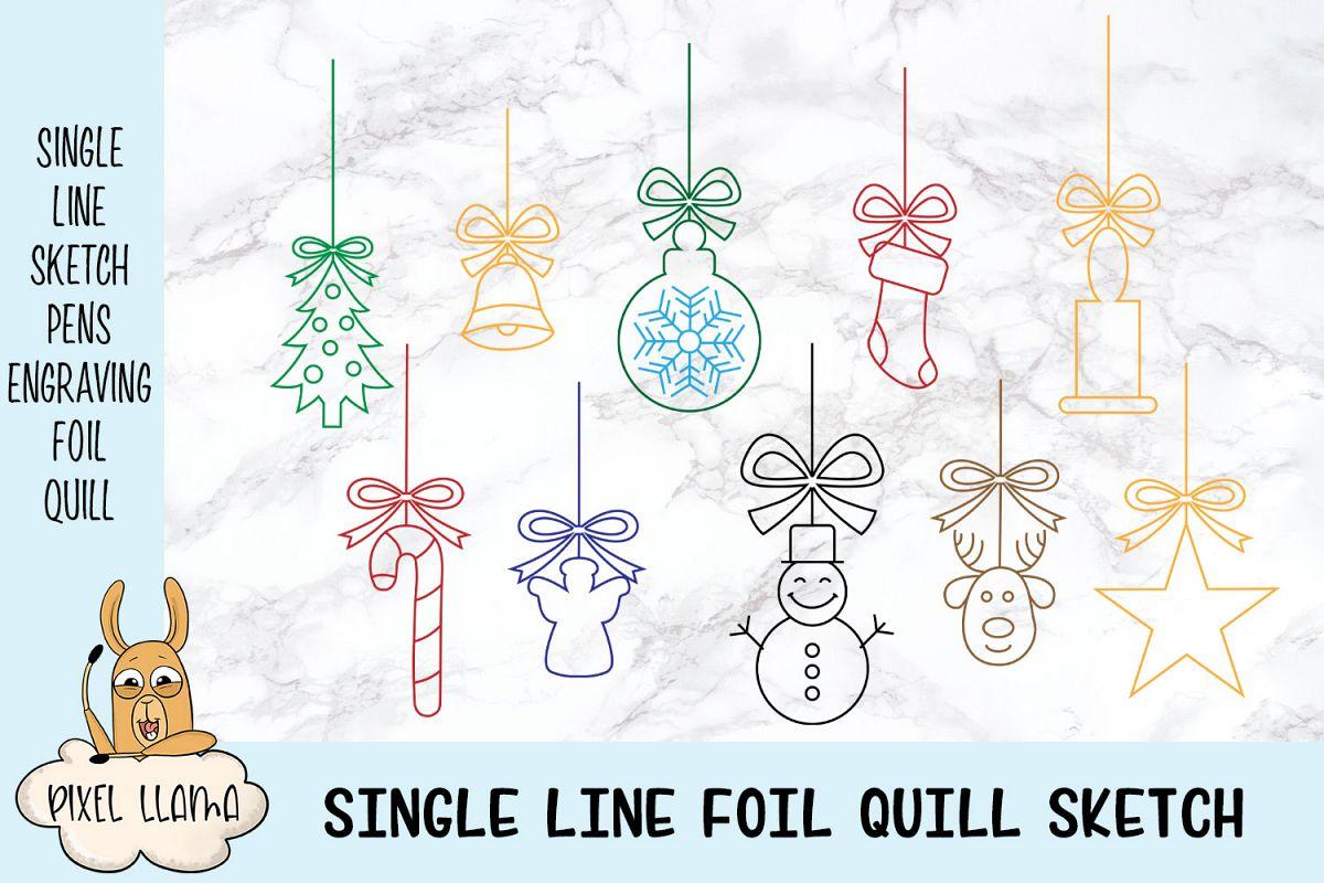 Christmas Ornaments Elements Bundle of 10 Single Line Sketch example image 1