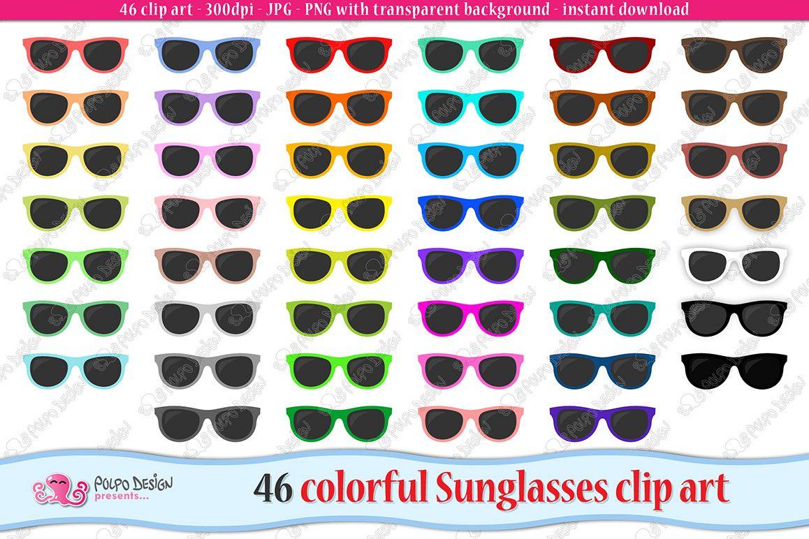 Colorful Sunglasses clip art example image 1