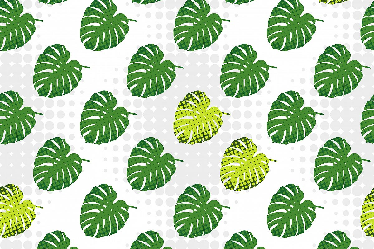Monstera leaves in halftone style. Seamless vector background. Summer tropical design. Textile rapport.  example image 1