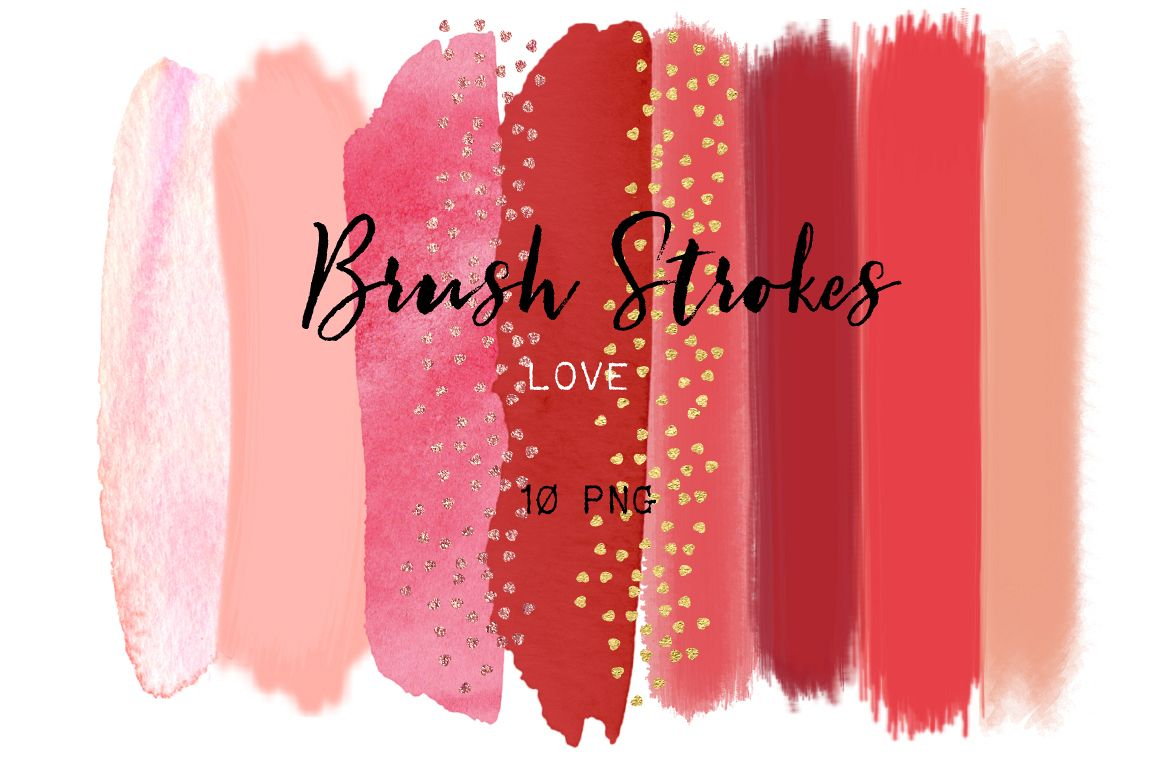 Brush Strokes Clip Art. Love collection. Hot pink, red, peach pink, blush pink, and heart glitter confetti strokes. Digital Design Resource. example image 1