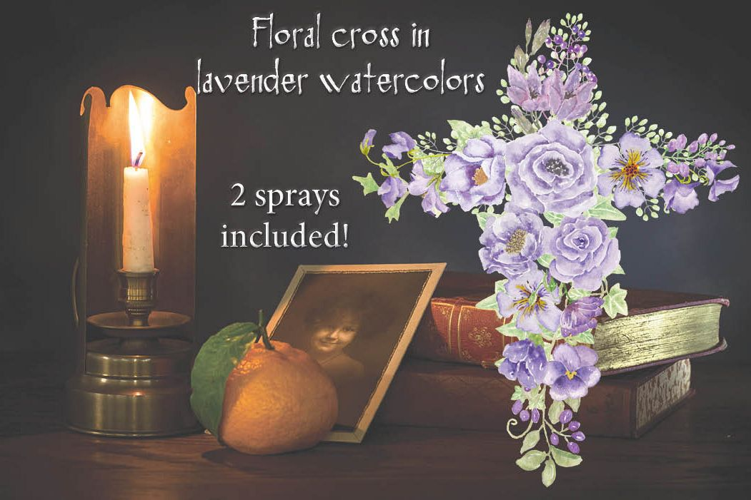 Floral cross in lavender watercolors example image 1