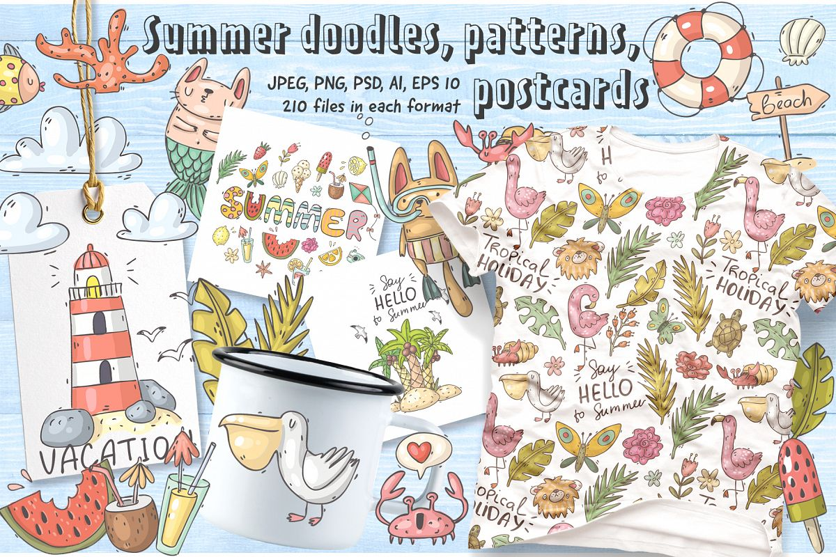 Big set of summer doodles example image