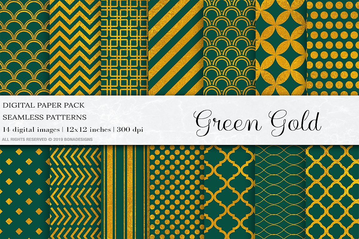 Green Gold Digital Papers, Gold Geometric Patterns example image 1