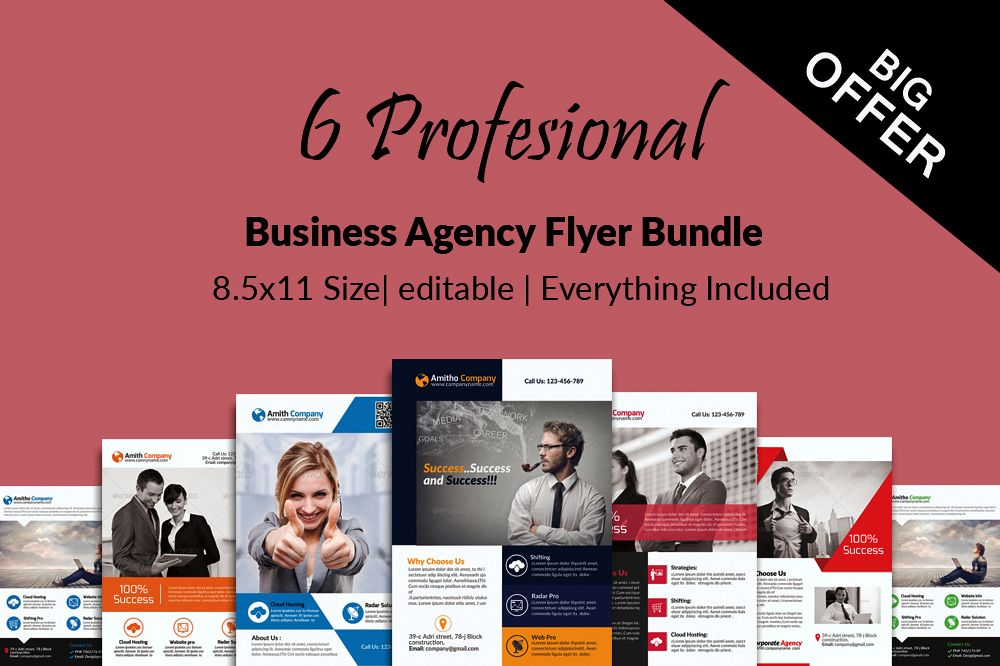 6 Corporate Business Flyers Bundle example image 1