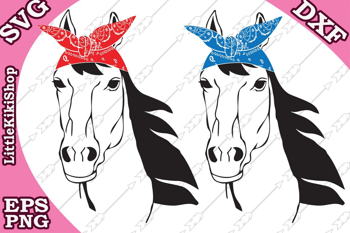 Horse Bandana Svg, Horse Svg,Country Farm Svg,Horse Head example image 1