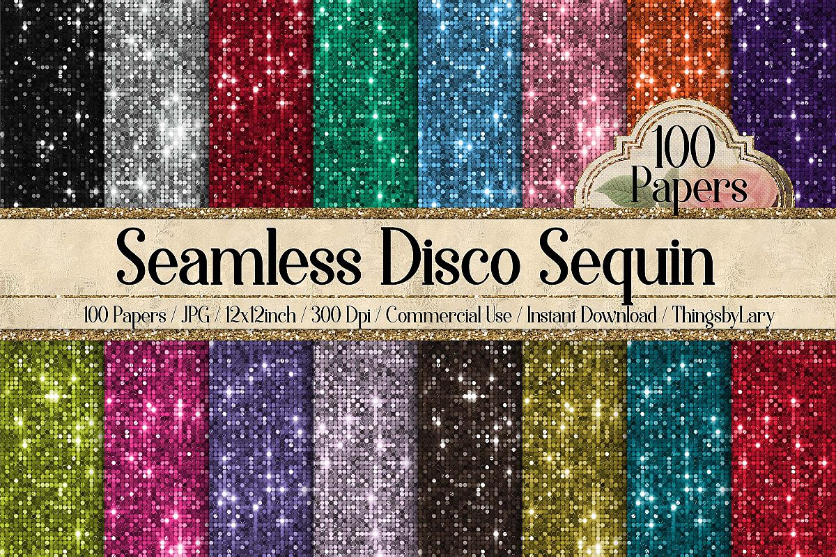 100 Seamless Glowing Bling Bling Disco Sequin Digital Papers example image 1