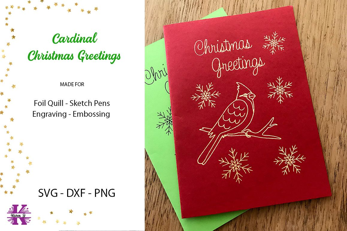 Cardinal Christmas Greetings SVG Foil Quill|Sketch Pen example image 1