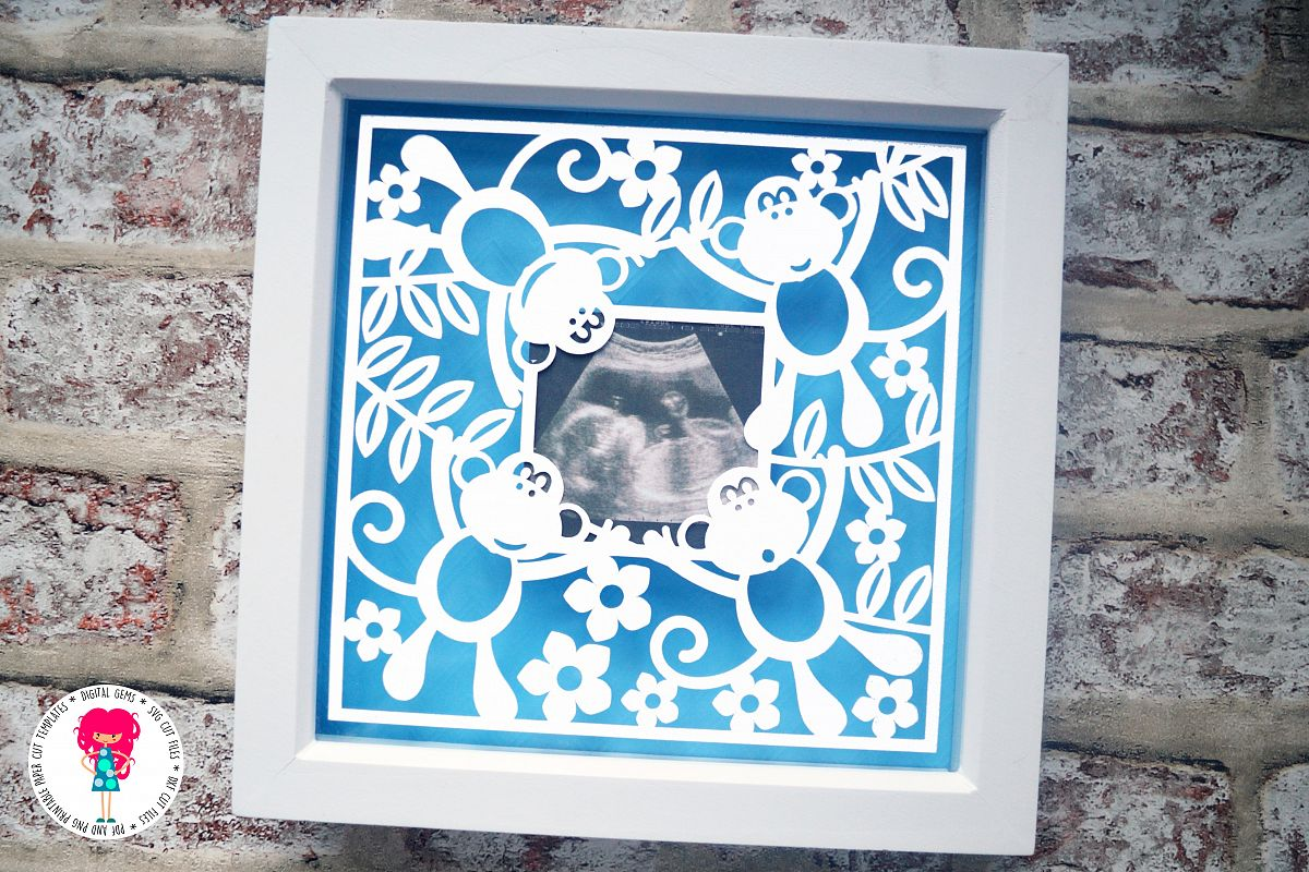 Monkey Frame paper cut SVG  DXF  EPS files example image 1