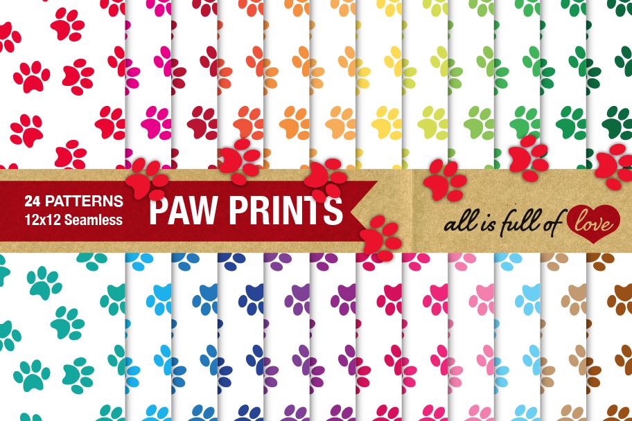 Dog Paw Digital Paper White Background example image 1