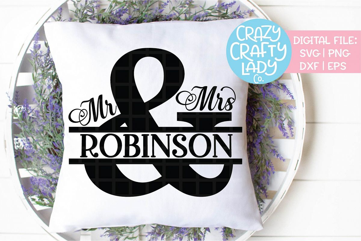 Mr & Mrs Split Ampersand Wedding SVG DXF EPS PNG Cut File example image 1