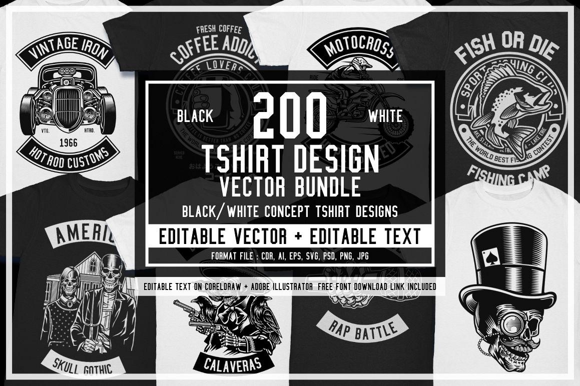 200 Vector Tshirt Designs B/W Concept Free Download