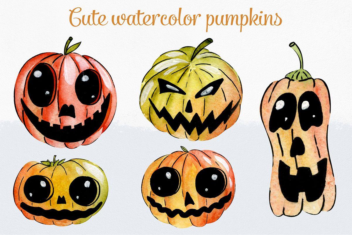 Cute watercolor pumpkins example image 1