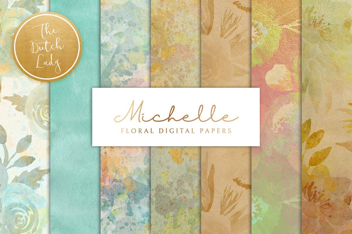 Floral Backgrounds & Paper Designs - Michelle example image 1