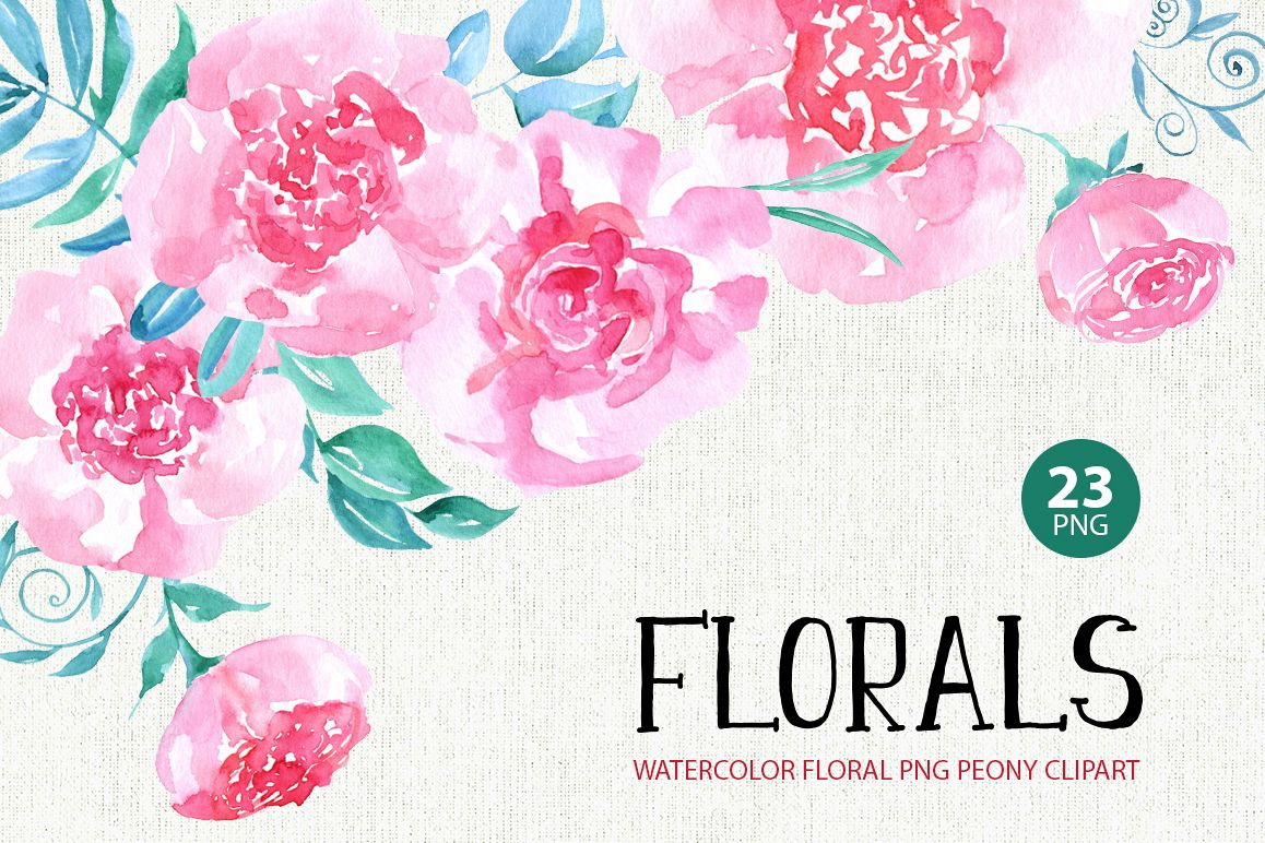 Watercolor flowers, 23 png clipart example image 1
