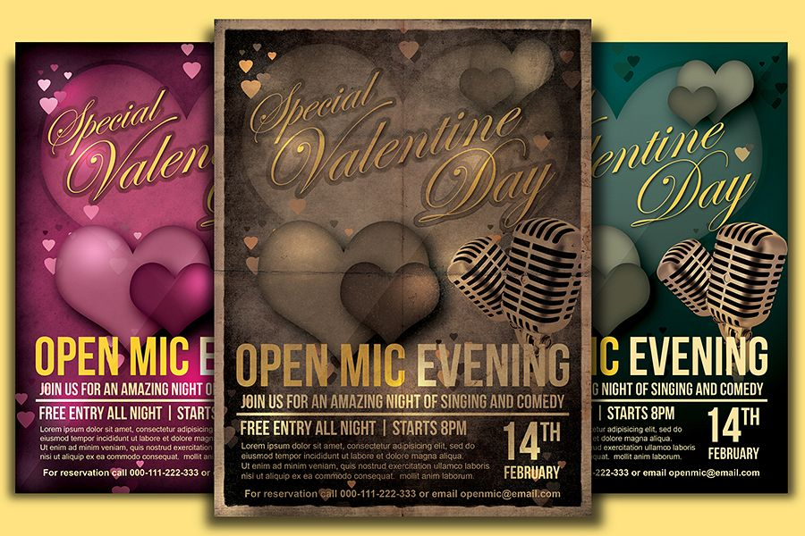Valentine Day Open Mic Flyer Template example image 1