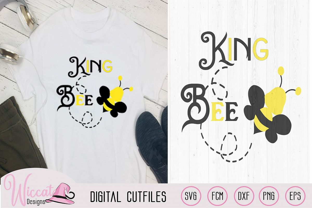 King bee svg, Queen svg, Bee quote svg, Bumble bee svg, example image 1
