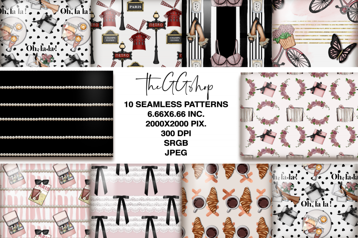 Paris Fashion Seamless Patterns example image 1