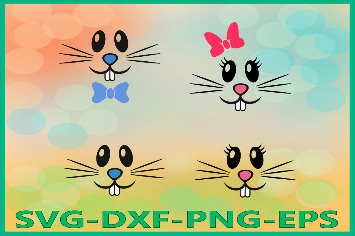 Bunny Face Svg, Bunny Boy Girl Svg, Easter SVG, Easter Bunny example image 1